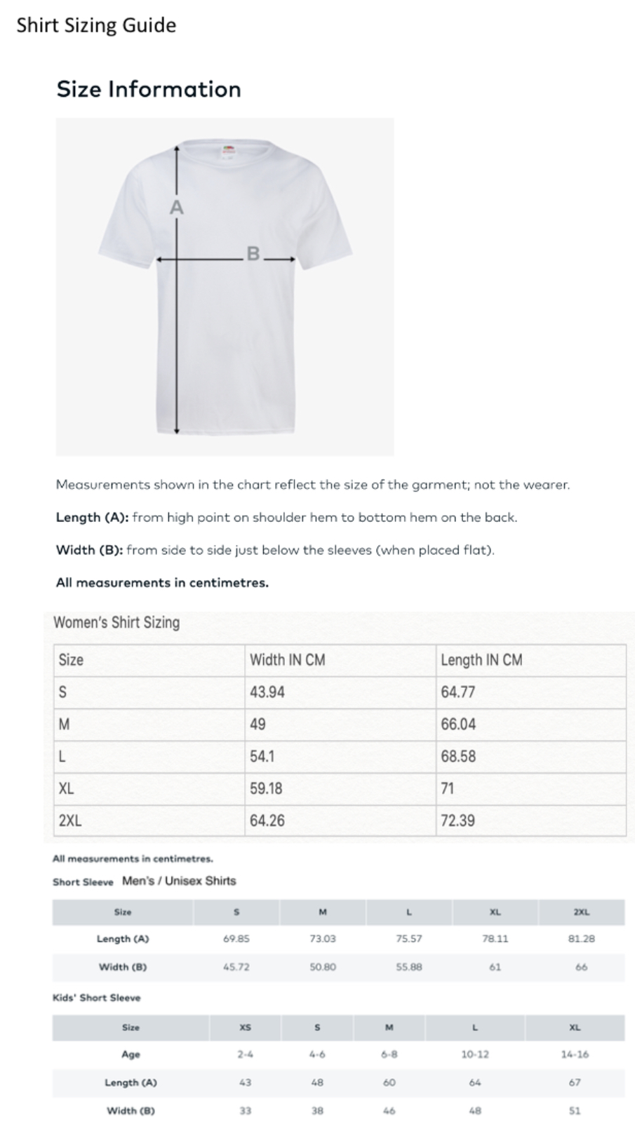 Event t shirt sizing guide
